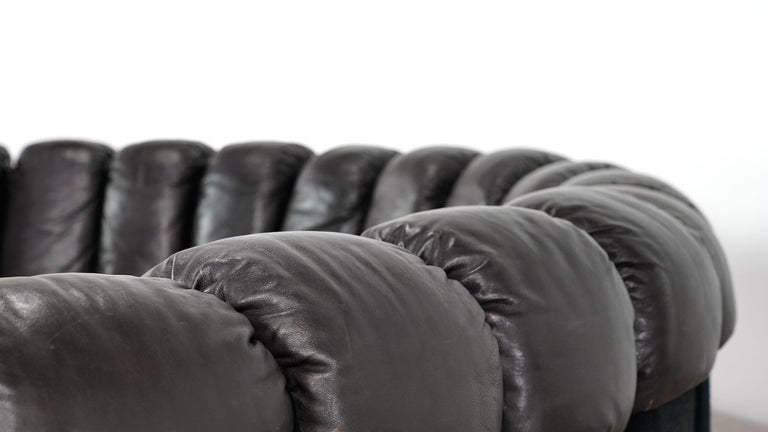 De Sede -DS 600 Sofa by Ueli Berger Riva 1972, Black Brown Leather 16 Elements For Sale 5