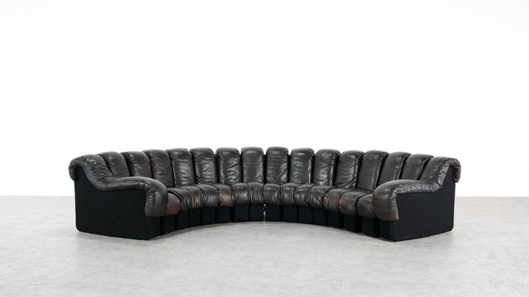 De Sede -DS 600 Sofa by Ueli Berger Riva 1972, Black Brown Leather 16 Elements For Sale 7