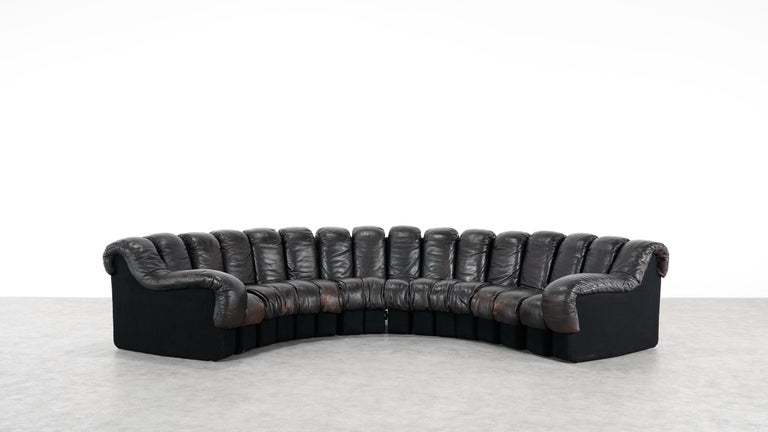 De Sede -DS 600 Sofa by Ueli Berger Riva 1972, Black Brown Leather 16 Elements For Sale 9
