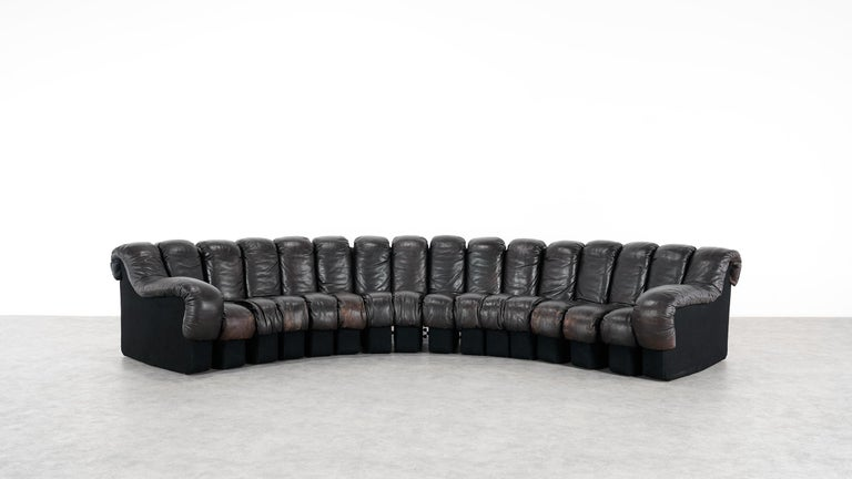 Mid-Century Modern De Sede -DS 600 Sofa by Ueli Berger Riva 1972, Black Brown Leather 16 Elements For Sale