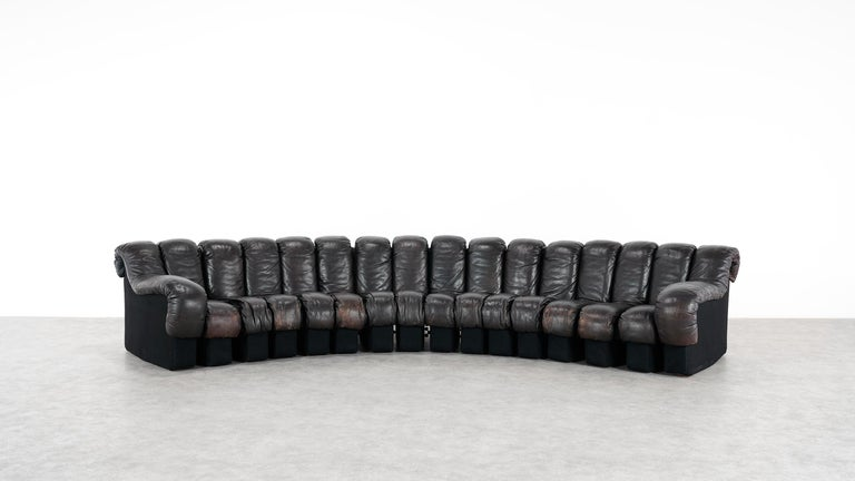 Swiss De Sede -DS 600 Sofa by Ueli Berger Riva 1972, Black Brown Leather 16 Elements For Sale