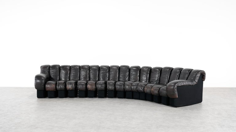 De Sede -DS 600 Sofa by Ueli Berger Riva 1972, Black Brown Leather 16 Elements In Good Condition For Sale In Munster, NRW