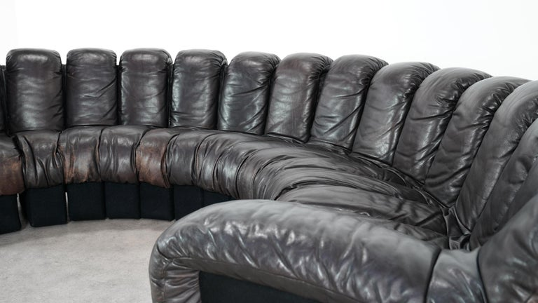 Late 20th Century De Sede -DS 600 Sofa by Ueli Berger Riva 1972, Black Brown Leather 16 Elements For Sale