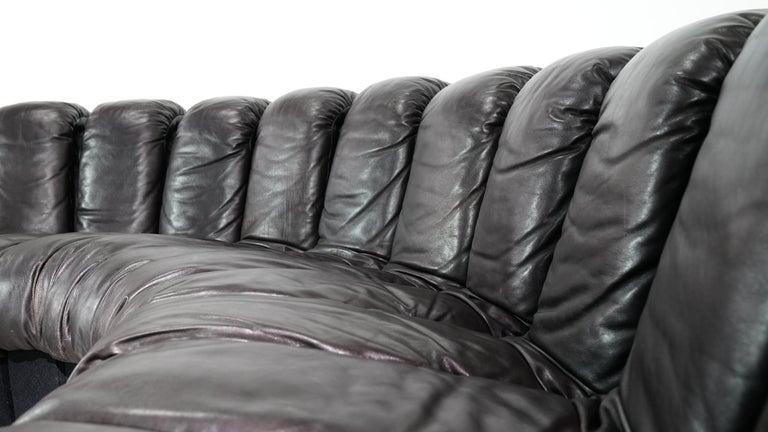 De Sede -DS 600 Sofa by Ueli Berger Riva 1972, Black Brown Leather 16 Elements For Sale 1