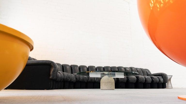 De Sede DS 600 Sofa by Ueli Berger Riva 1972, Black Leather 20 Elements 4