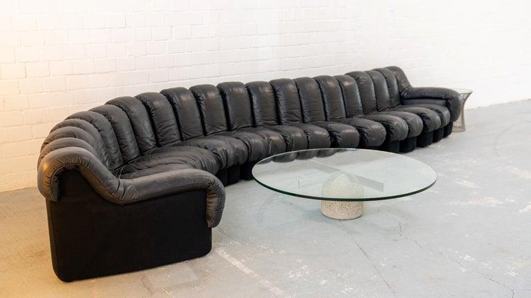 De Sede DS 600 Sofa by Ueli Berger Riva 1972, Black Leather 20 Elements 5