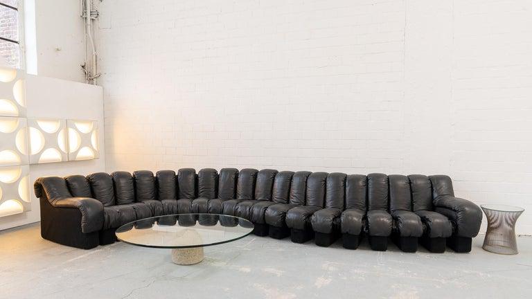 De Sede DS 600 Sofa by Ueli Berger Riva 1972, Black Leather 20 Elements 9