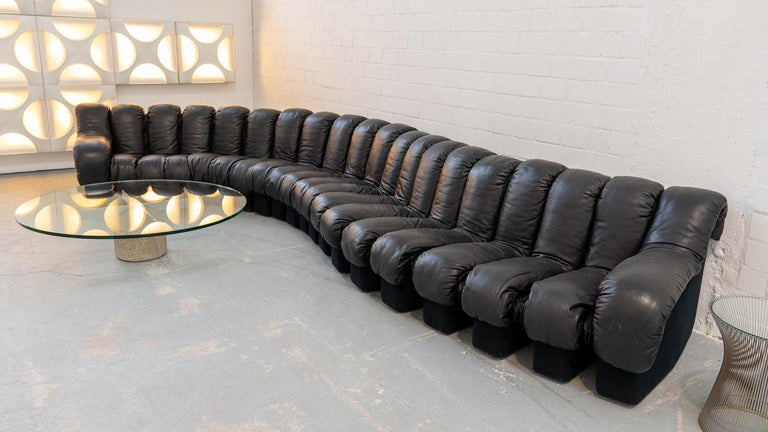 De Sede DS 600 Sofa by Ueli Berger Riva 1972, Black Leather 20 Elements 10