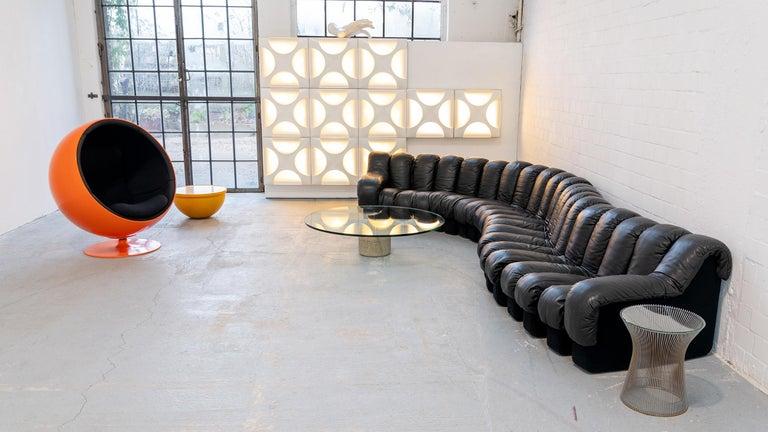 Mid-Century Modern De Sede DS 600 Sofa by Ueli Berger Riva 1972, Black Leather 20 Elements