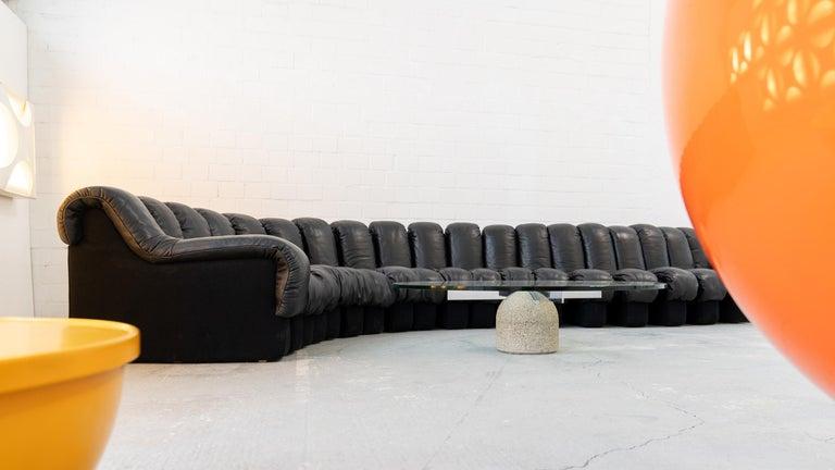 De Sede DS 600 Sofa by Ueli Berger Riva 1972, Black Leather 20 Elements 3