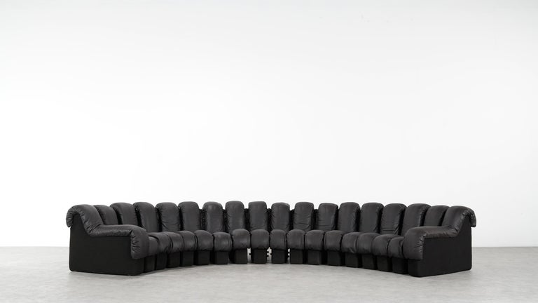 De Sede DS 600 Sofa by Ueli Berger / Riva 1972, Brown Black Leather 18 Elements For Sale 4