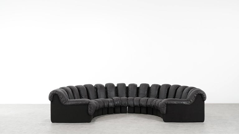 De Sede DS 600 Sofa by Ueli Berger / Riva 1972, Brown Black Leather 18 Elements For Sale 7