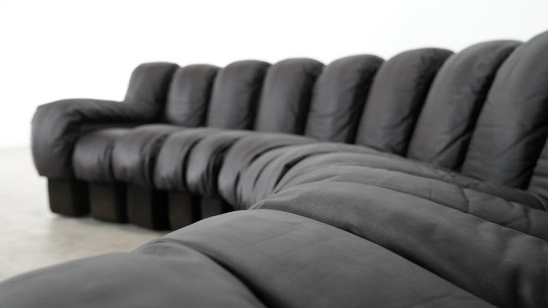 De Sede DS 600 Sofa by Ueli Berger / Riva 1972, Brown Black Leather 18 Elements For Sale 8