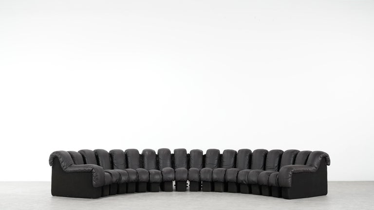 De Sede DS 600 Sofa by Ueli Berger / Riva 1972, Brown Black Leather 18 Elements For Sale 12