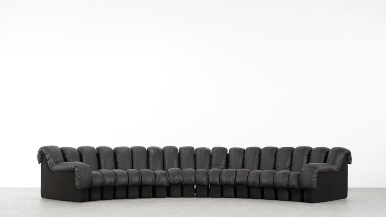 De Sede DS 600 Sofa by Ueli Berger / Riva 1972, Brown Black Leather 18 Elements For Sale 14