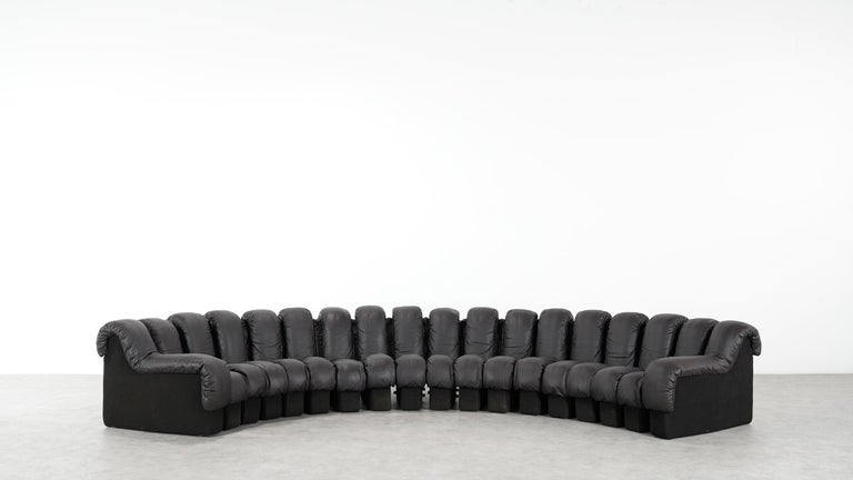 Swiss De Sede DS 600 Sofa by Ueli Berger / Riva 1972, Brown Black Leather 18 Elements For Sale