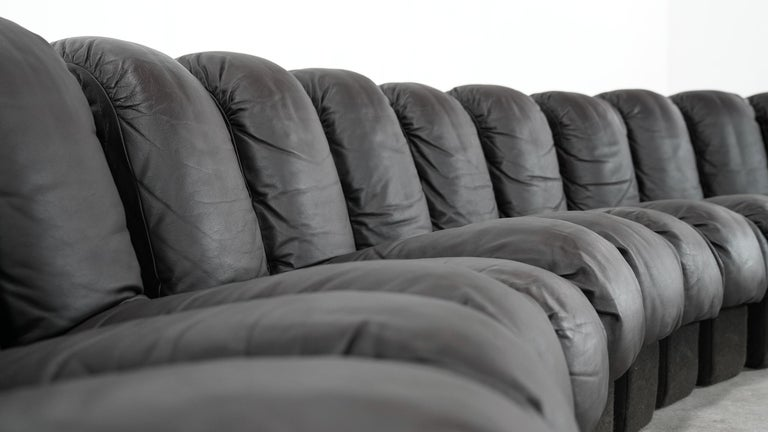 De Sede DS 600 Sofa by Ueli Berger / Riva 1972, Brown Black Leather 18 Elements In Good Condition For Sale In Munster, NRW