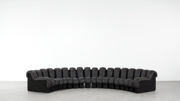 De Sede DS 600 Sofa by Ueli Berger / Riva 1972, Brown Black Leather 18 Elements For Sale 1