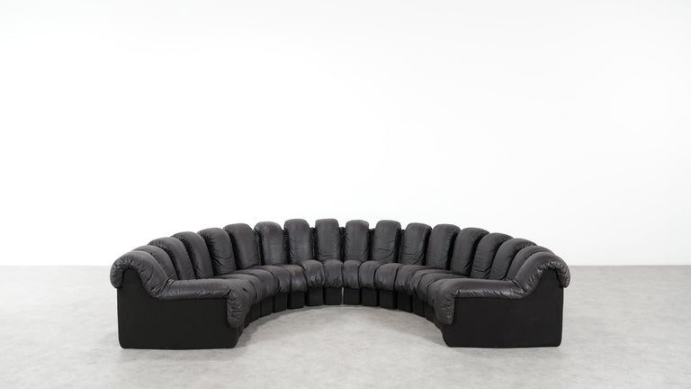 De Sede DS 600 Sofa by Ueli Berger / Riva 1972, Brown Black Leather 18 Elements For Sale 3