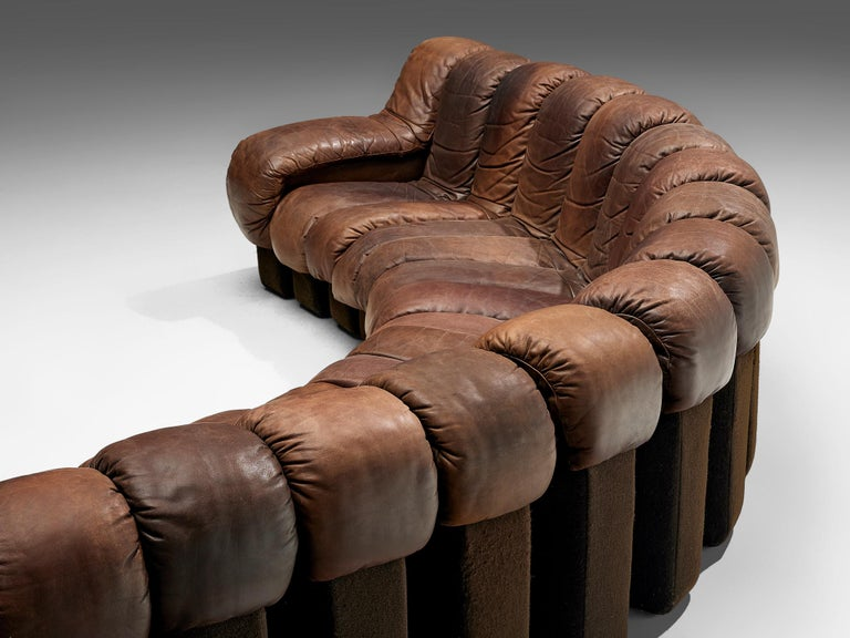 Mid-Century Modern De Sede DS-600 Sofa in Brown Leather For Sale