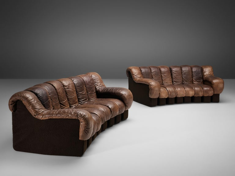 De Sede DS-600 Sofa in Brown Leather In Good Condition For Sale In Waalwijk, NL