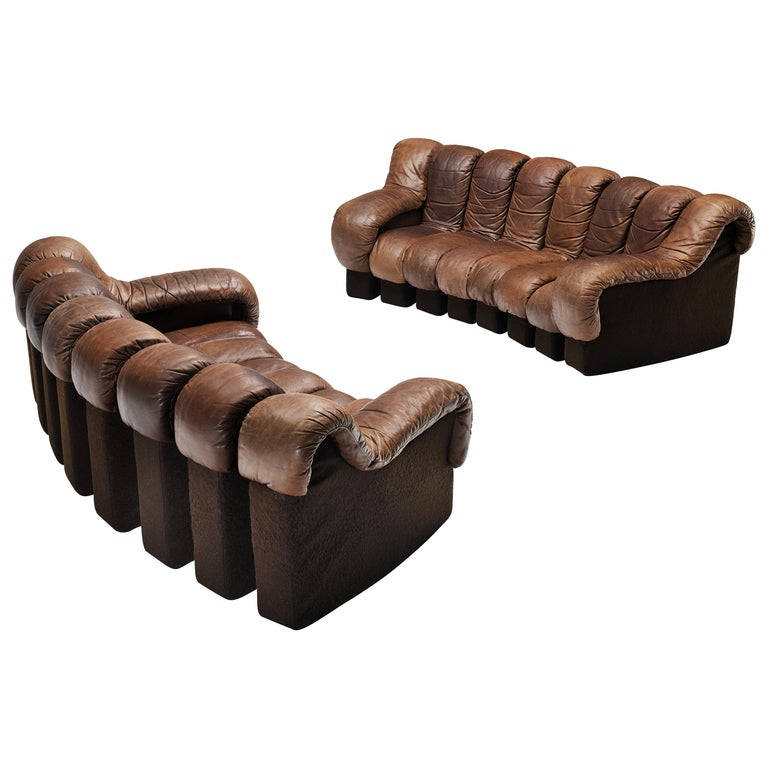De Sede DS-600 Sofa in Brown Leather For Sale