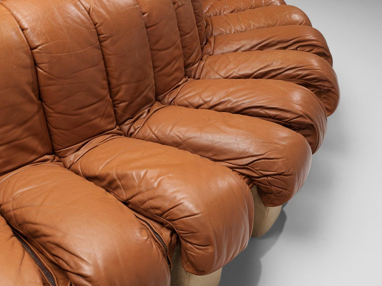 Late 20th Century De Sede DS-600 Sofa in Cognac Leather For Sale