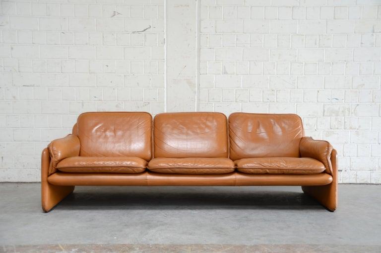 De Sede DS 61 Leather Sofa Cognac For Sale at 1stdibs