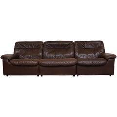 De Sede DS 66 Brown Leather 3-Seat Sofa