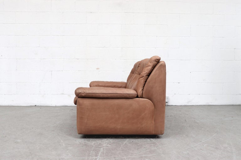 Mid-Century Modern De Sede DS 66 Natural Leather Loveseat For Sale