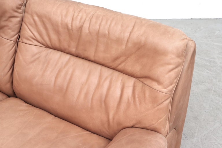 Late 20th Century De Sede DS 66 Natural Leather Loveseat For Sale