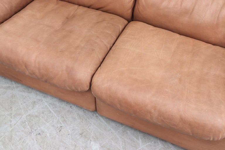 De Sede DS 66 Natural Leather Loveseat For Sale 2
