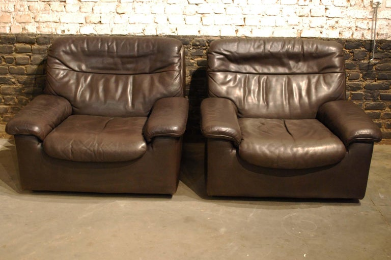 De Sede DS 66 Three-Piece Dark Brown Leather Sofa Set by Carl Larsson For Sale 4