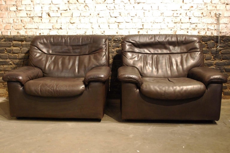 De Sede DS 66 Three-Piece Dark Brown Leather Sofa Set by Carl Larsson For Sale 5