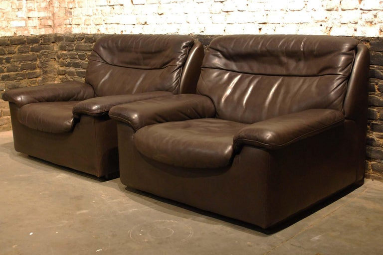 De Sede DS 66 Three-Piece Dark Brown Leather Sofa Set by Carl Larsson For Sale 7