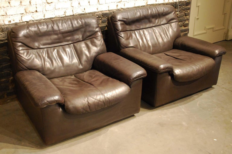 De Sede DS 66 Three-Piece Dark Brown Leather Sofa Set by Carl Larsson For Sale 8