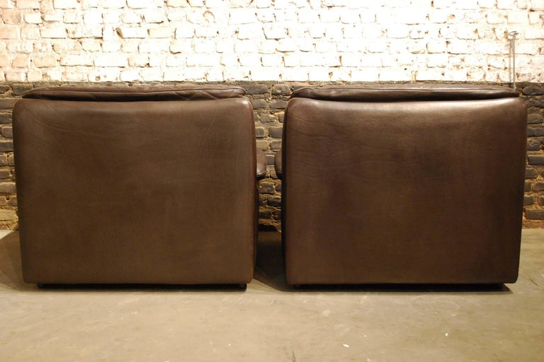 De Sede DS 66 Three-Piece Dark Brown Leather Sofa Set by Carl Larsson For Sale 9