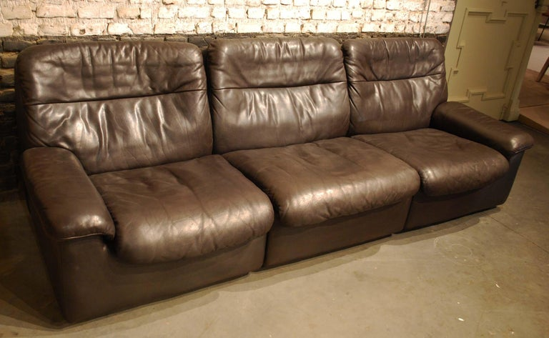 20th Century De Sede DS 66 Three-Piece Dark Brown Leather Sofa Set by Carl Larsson For Sale
