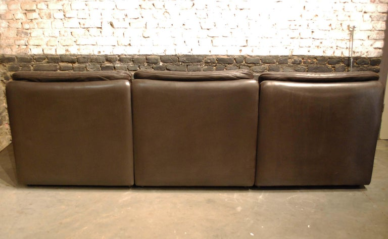 De Sede DS 66 Three-Piece Dark Brown Leather Sofa Set by Carl Larsson For Sale 3