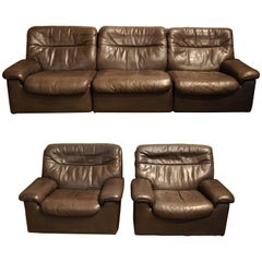 De Sede DS 66 Three-Piece Dark Brown Leather Sofa Set by Carl Larsson