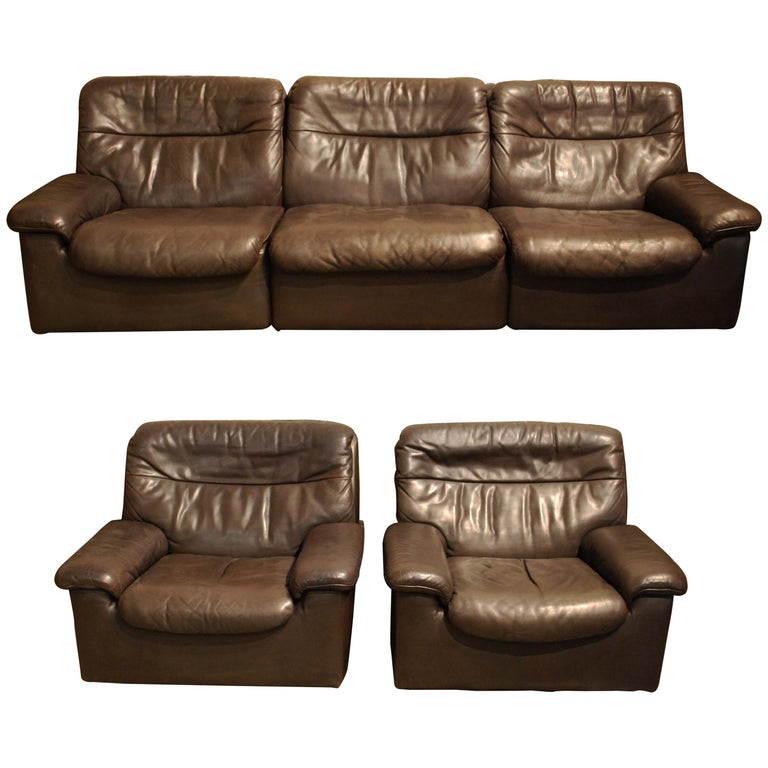 De Sede DS 66 Three-Piece Dark Brown Leather Sofa Set by Carl Larsson For Sale