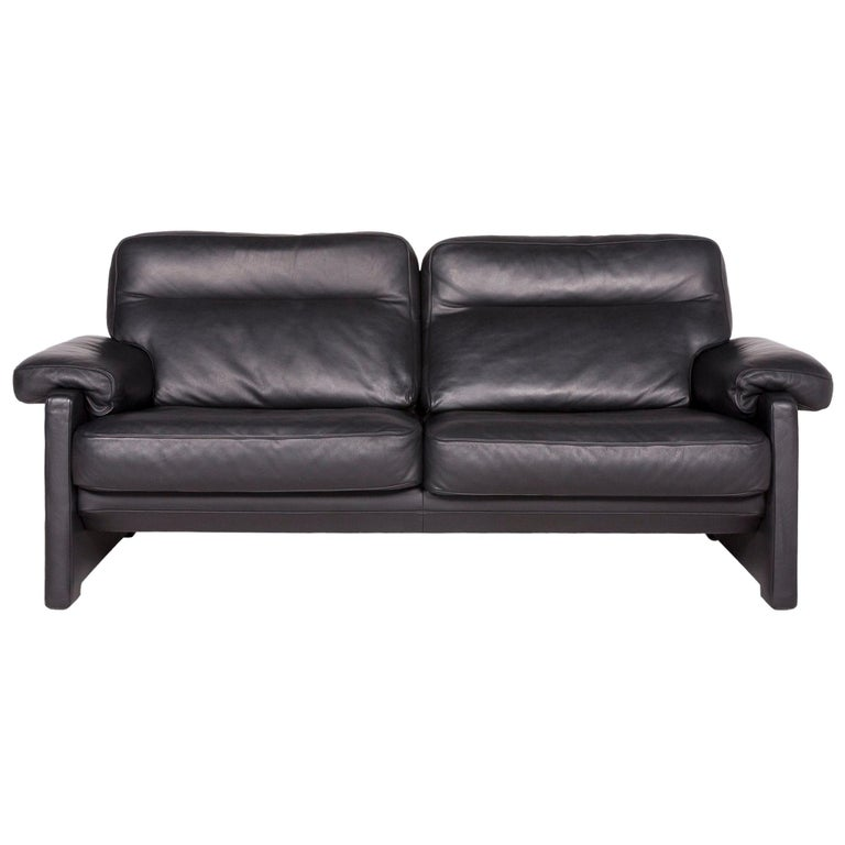 De Sede DS 70 Designer Leather Sofa Black Genuine Leather Two-Seat Couch