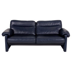 De Sede Ds 70 Leather Sofa Blue Dark Blue Two-Seater Couch