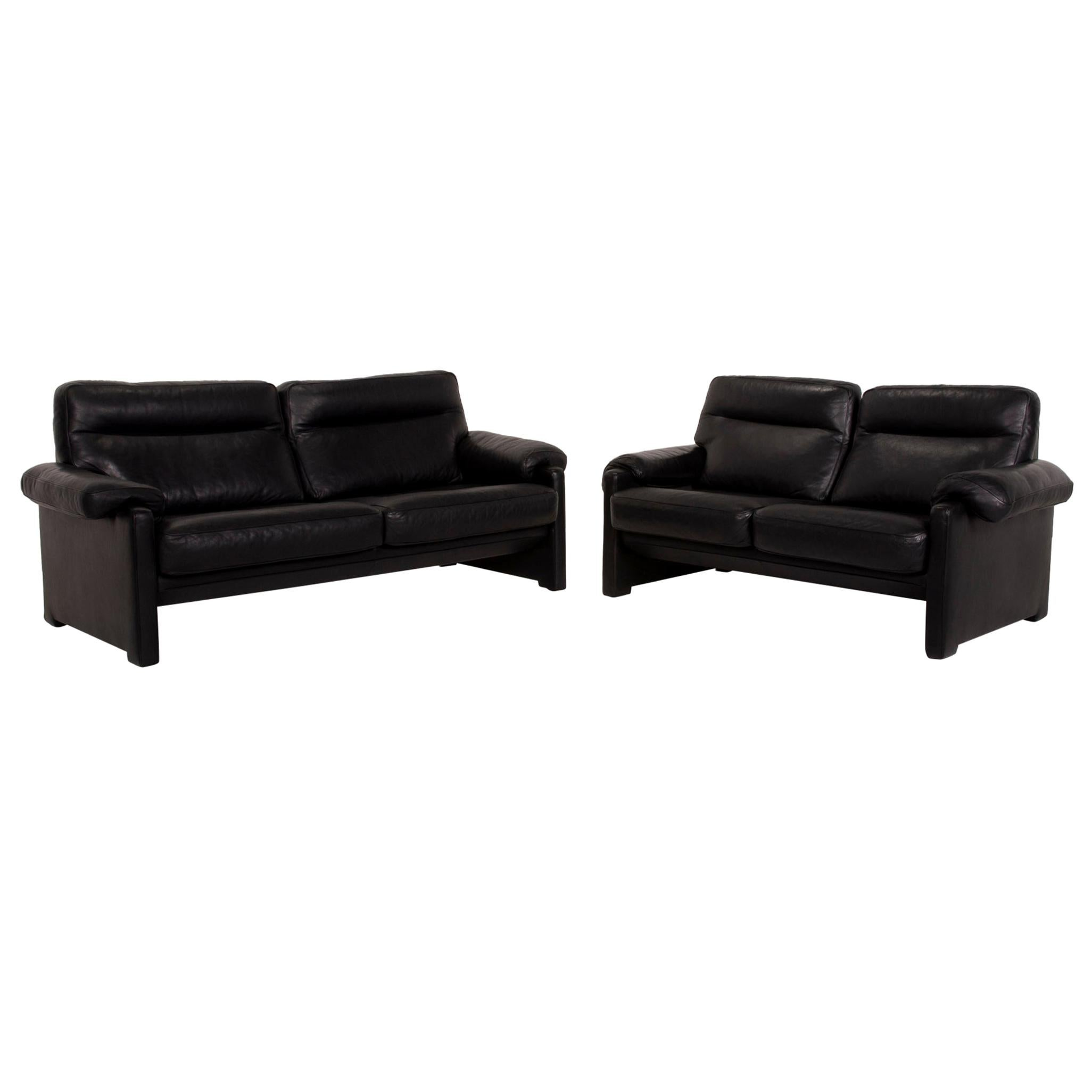 De Sede Ds 70 Leather Sofa Set Black 1x Three-Seater 1x Two-Seater Set