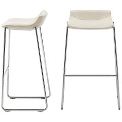 De Sede DS-717 Stool in Snow Upholstery with Steel Legs by Claudio Bellini