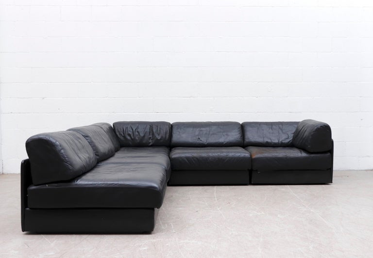 Mid-Century Modern De Sede DS 76 Black Leather 5 Piece Sectional Sleeper Sofa For Sale