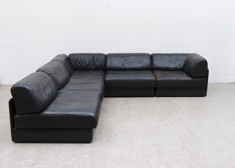 Swiss De Sede DS 76 Black Leather 5 Piece Sectional Sleeper Sofa For Sale