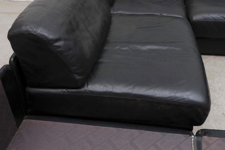 Late 20th Century De Sede DS 76 Black Leather 5 Piece Sectional Sleeper Sofa For Sale