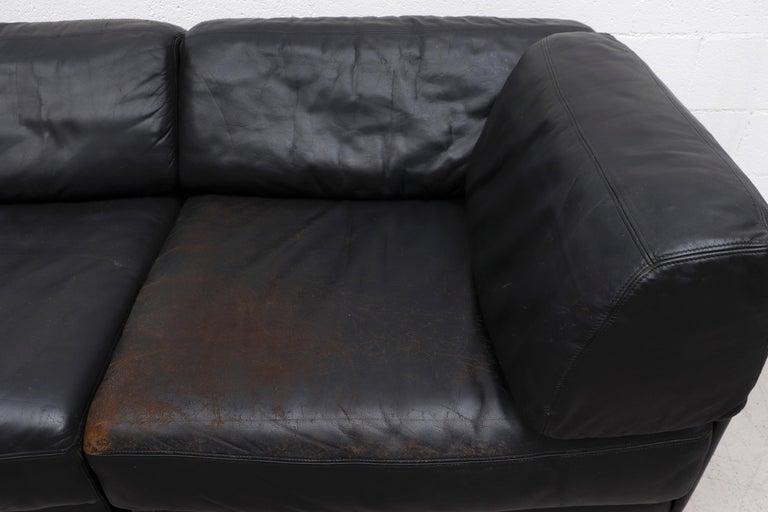 De Sede DS 76 Black Leather 5 Piece Sectional Sleeper Sofa For Sale 1