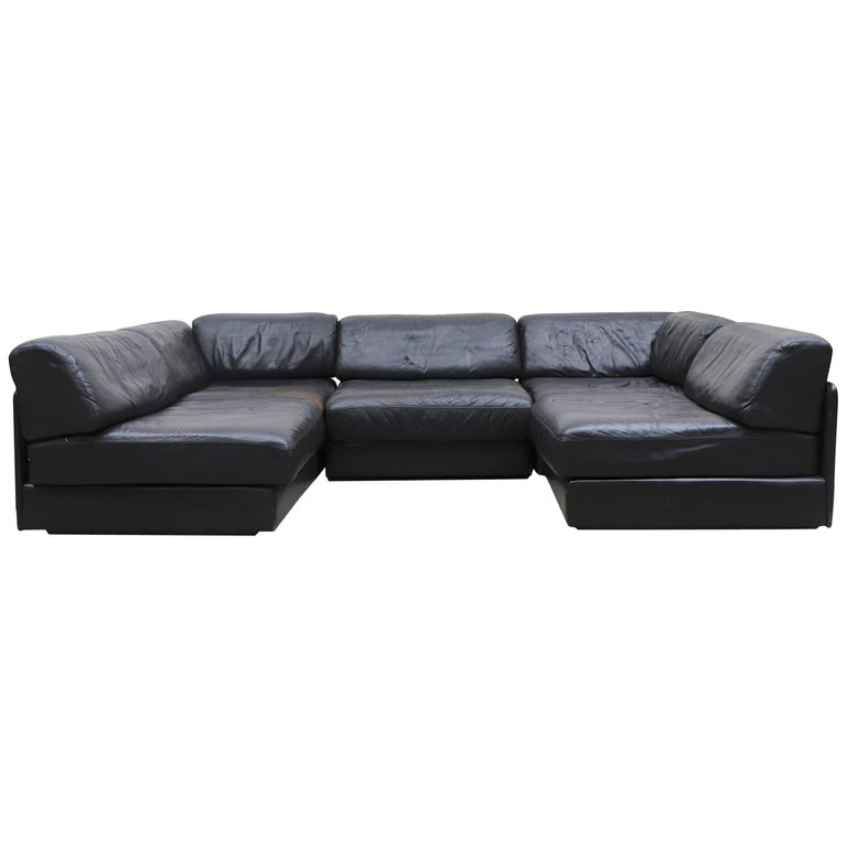 De Sede DS 76 Black Leather 5 Piece Sectional Sleeper Sofa For Sale